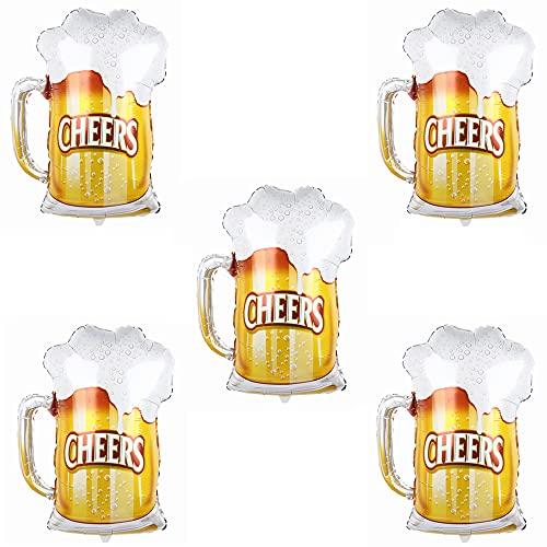 ballonfritz Juego de 5 globos de cerveza, tamaño XXL, como decoración, bienvenida, regalo de fiesta, accesorio de fotografía o sorpresa