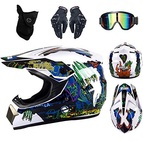 Casco de motocross infantil DOT homologado con diseño de tiburón, color negro, con guantes, gafas, máscara (blanco)