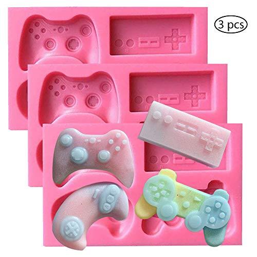 SUNSK Moldes de Pastel de Silicona Fondant 3D Controlador De Juego Molde para Hornear Tartas Dulces Chocolate Jabón Moldes 3 Piezas
