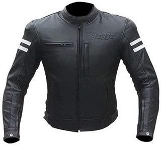 BIESSE – Chaqueta de moto de piel, para hombre, estilo vintage, con protecciones CE XL blanco y negro