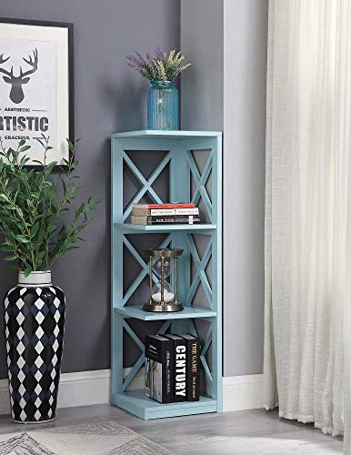 Convenience Concepts Oxford 3 Tier Corner Bookcase, Sea Foam