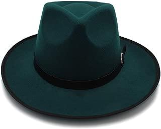 SXQ Fashion Unisex Feodora Hats Panama Cap Womem Men Classic Wide Brim Sun Hat (Color : Green, Size : 56-58cm)
