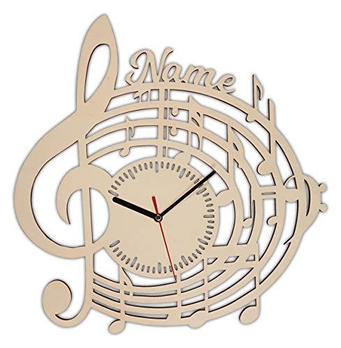 Musiker Geschenke Geschenkideen Musikliebhaber Wanduhr mit Gravur aus Holz personalisiert