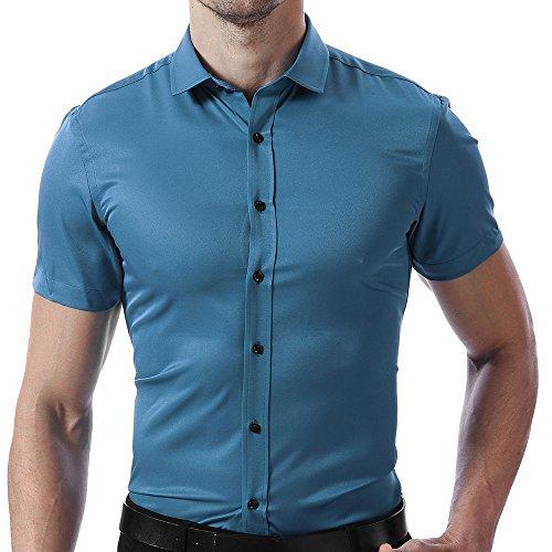 INFLATION Herren Hemd aus Bambusfaser umweltfreudlich Elastisch Slim Fit für Freizeit Business Hochzeit Reine Farbe Hemd Kurzarm Herren-Hemd Violett DE M (Etikette 41)