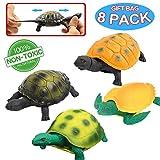 Giocattoli tartaruga, 5 Pollici Gomma Testuggine Set (8 Pezzi), Materiale Sicurezza TPR , Può Nascondere in Shell, Mondo Zoo Animale Oceano Marino Vasca da Bagno Piscina Doccia ,Bomboniere Ragazzi