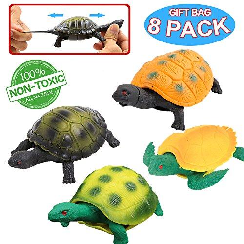 Spielzeuge in Form von Schildkröte, Schildkröte-Set aus Gummi 5 inch (8 Packungen), sicheres Material TPR, super dehnbar, kann in den Panzer stecken, Welt der Meerestiere, Badespielzeuge, Partyzubehör