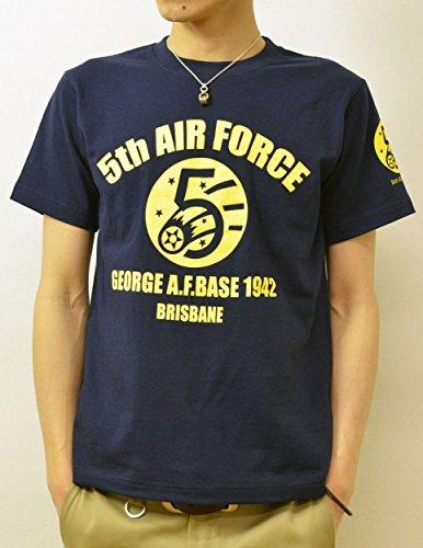 (ジーンズバグ)JEANSBUG 5th AIR FORCE オリジナル エアフォース 第5空軍 ミリタリー プリント 半袖 Tシャツ メンズ レディース 大きいサイズ ST-5thAF M ネイビー(86)