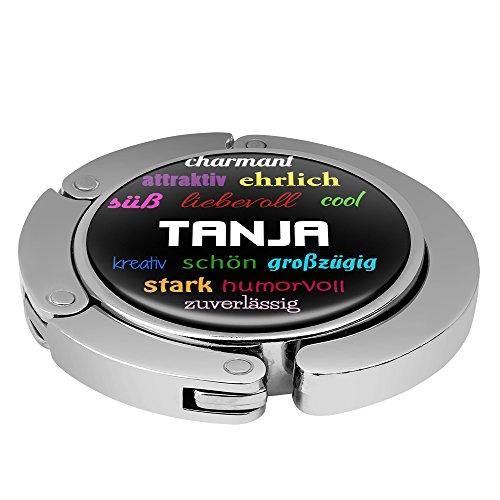 Taschenhalter Positive Eigenschaften Personalisiert mit Namen Tanja printplanet Chrom