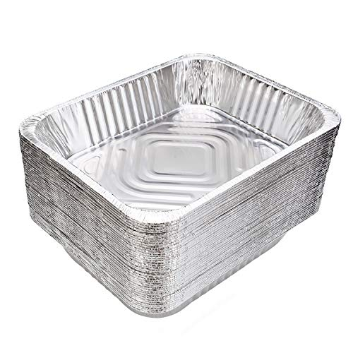 Aluminum Pans (30-Pack) - HEAVY DUTY - Disposable Aluminum Foil Half-Size Deep Pans. Great for Baking, Cooking, Serving & Lining Steam-Table Trays/Chafers