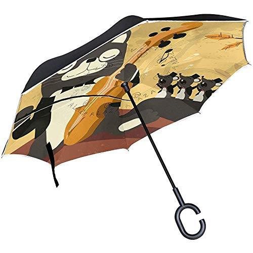 Mike-Shop Gitarre Katze Mäuse Inverted Umbrella Compact Winddicht Auto Reverse UV-Schutz Reiseschirme