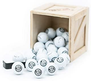 Man Crates Personalized Golf Balls Crate – Includes 30 Monogrammed Golf Balls – Ships in A Sealed Wooden Crate with A Laser-Etched Crowbar – Great Gifts for Men