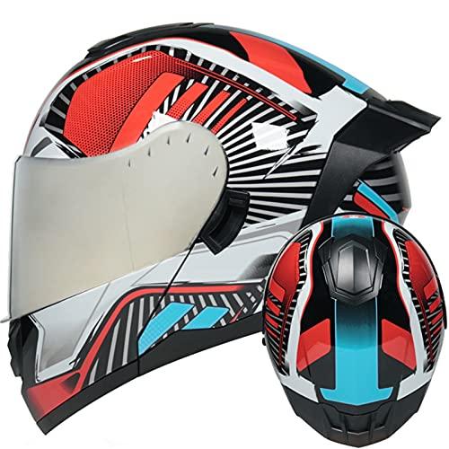 ABDOMINAL WHEEL Casco de Moto Modular Integrado ECE Homologado Casco Modular Moto Hombre Mujer Adultos, Cascos Modulares con Doble Visera para Motocicleta Scooter U,M=57~58CM