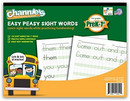 Channie's Easy Peasy 100 Sight Words Workbook, Practice Printing, Tracing, and Handwriting, 80 Pages Front & Back, 40...