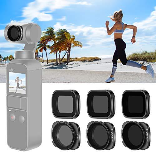 Neewer-Magnetfilter-Set für das Objektiv der DJI Osmo Taschen-Kamera, inklusive mehrfach beschichteter ND4-ND8-ND16-CPL-ND32 / PL-ND64 / PL-Filter mit Transportbox (Schwarz)
