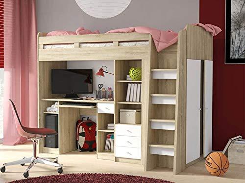 Etagenbett für Kinder UNIT Stockbett mit Treppe und Bettkasten KRYSPOL (Weiß + Sonoma Eiche)