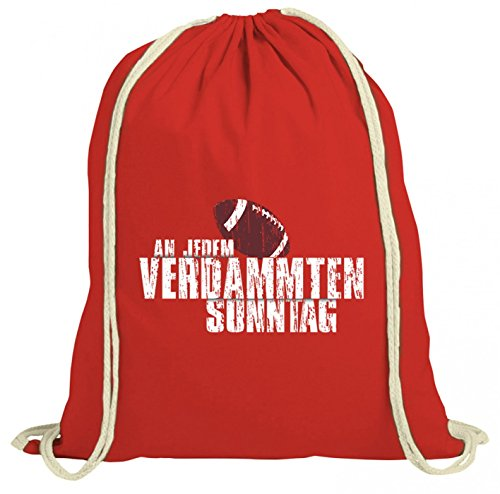 Shirt Happenz An jedem verdammten Sonntag Premium Turnbeutel | Any Given Sunday | American Football | Super Bowl | Gymbag, Farbe:Rot (Gymbeutel);Größe:37cm x 46 cm