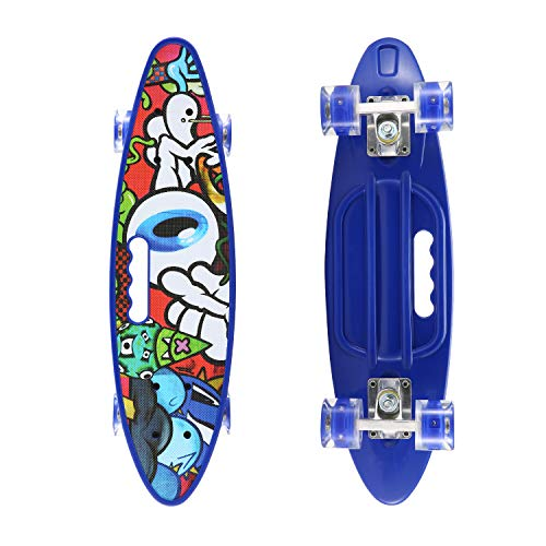 SANSIRP 23 Inches Plastic Skateboard, Complete Portable Mini Skateboards with Bendable Deck LED Wheels for Beginners/Kids/Adults