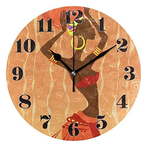 GOSMAO 25cm (9.8') Redondo Reloj de Pared Silencioso No Tick Tack Ruido Reloj de Pared Mujer Africana étnica
