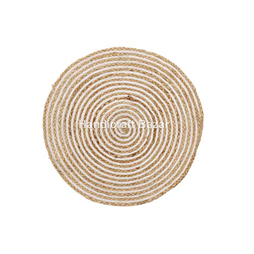 Indischer Runder Jute-Teppich für Wohnzimmer, Türstopper, handgefertigt, natürlicher handgewebter...