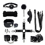 DIQIAN229 ǎdǔlt 10PCS Rêšt-ŕáîntš Party Bǿňdaģé Set Hândcuffs Collâr Blindfold Whïp Bed Tie Up Nylon Toys Cosplay Role Play BdŚM Set (Black)