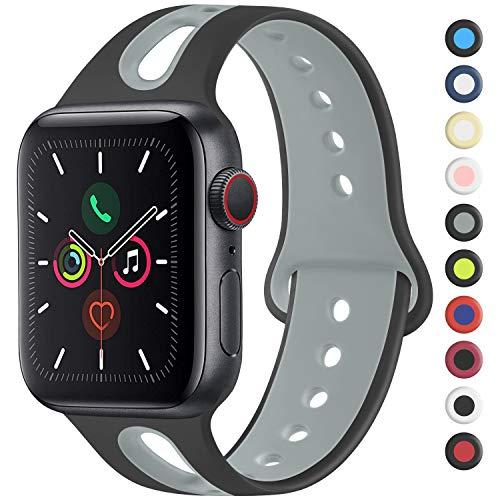 Meliya コンパチブル Apple Watch バンド アップルウォッチ バンド 新デザイン スポーツバンド 交換バンド 柔らかい シリコン素材 apple watch series 5/4/3/2/1に対応 (42mm/44mm S/M, 黒/灰)