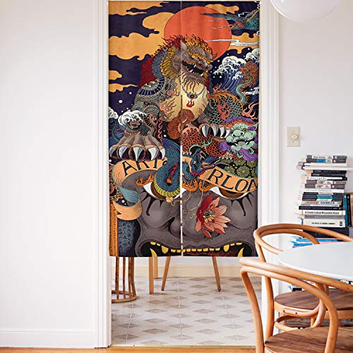 Spanker Space Colorful Ukiyoe Chinese Kylin Mythical Mascot Creatures Japanese Noren Doorway Curtain Fabric Cotton Linen for Home Kitchen Door Decor 34x59 Inches