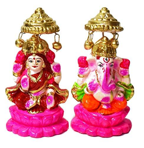 Craftsman 12,7cm Schöne Paar Lord Ganesha und Ton Lakshmi Statue für Diwali/deepawali Räucherstäbchen Pooja Puja. Laxmi Ganesh Statue. Diwali Räucherstäbchen Pooja. deewali/deepawali Puja Statue.