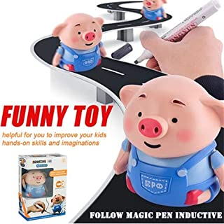 Mini Magic Inductive Toys,Christmas Cute Pig Inductive Car Toy,Move Following Any Drawn Line Kid's Educational Toy,Novel Funny Robot Toy with Marker Pen for Children Toddlers Boys Girls Party Birthday