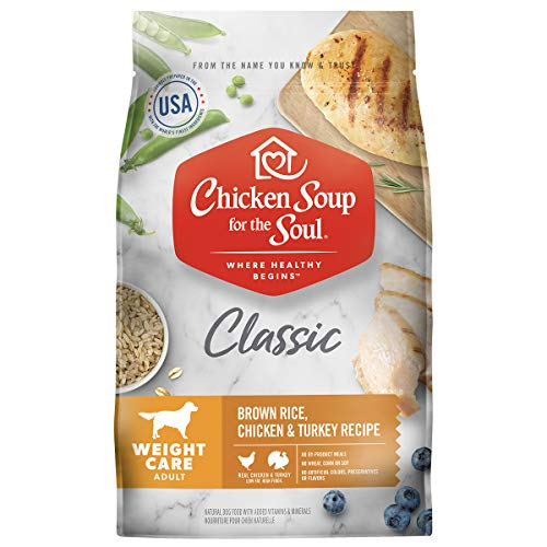 Chicken Soup for The Soul Pet Food - Weight Care Dog Food, Brown Rice, and Turkey Recipe, 28 lb. BagSoy Free,Corn Free, Wheat Free Dry Made with Real Ingredients No Artificial Flavors or Preservatives