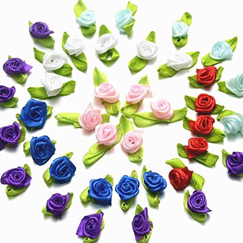 milopon 100x Rosas Cinta de Raso pequeñas rosas DIY Decoración Flores para mano adornos pelo joyas collar pulseras pendientes DIY