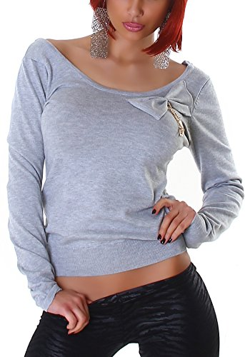 Jela London Pullover Sweatshirt Longsleeve großer Ausschnitt Dekolleté Schleife, Grau