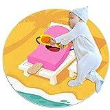 Alfombra Suave Redonda 70x70cm/27.6x27.6IN Alfombrillas Circulares Antideslizantes para el Suelo Alfombrilla para pie de Esponja Absorbente,Palito de Helado Tomando el Sol en una Silla de Playa