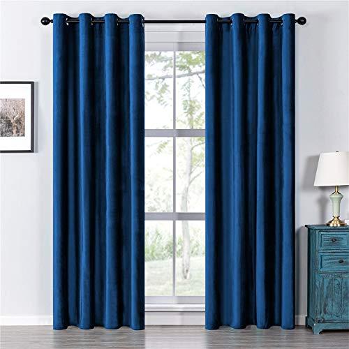 Topfinel Verdunkelungsvorhänge mit Ösen Samt Blackout Vorhänge für Schlafzimmer Kinderzimmer 2er Set je 235x132cm (HxB) Blau