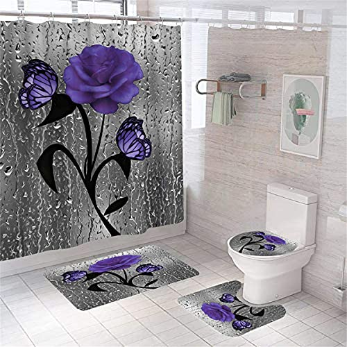 Floral Shower Curtains Butterfly Purple Rose Bathroom Shower Curtain with Non-Slip Rugs and Toilet Lid Cover Durable Bathroom Sets Medium Size