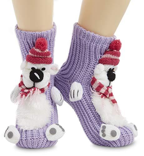 CityComfort Fluffy Thick Slipper Socks Novelty Non Slip Crew Socks, Ladies Funny 3D Knitted Animal Socks Unicorn Gifts For Women Girls Secret Santa, Stocking Fillers (Purple)