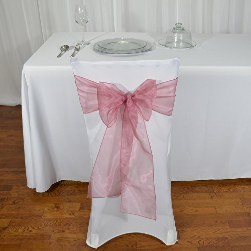 American Home Design 50-Pack Organza Bows Chair Sashes for Event Decoration Mauve