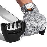 OBSGUMU Afilador manual de cuchillos – 3 niveles – Afilador de cuchillos 2 en 1 – Accesorio de cocina para ayudar a reparar cuchillas de restauración y pulir, incluye guantes para la seguridad