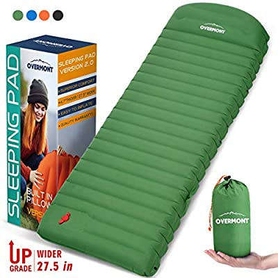 Overmont Large Sleeping Pad (76.7X 27.6in) with Pillow 4.7in Extra Thickness Mat Ultralight Inflatable Camping Air Mattress for Backpacking Hiking Car Travel Waterproof Compact with Carrying Bag