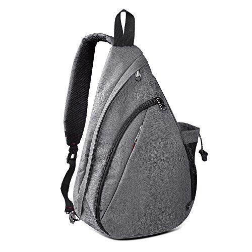 OutdoorMaster Sling Bag Damen und Herren, Leichter Schulterrucksack Sling Rucksack Pack mit bequemem Material, multifunktionales Crossbag Brust Tasche Schleuder Tasche für Outdoorsport (Grau)