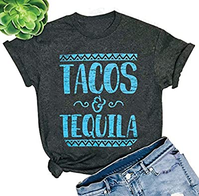 Chulianyouhuo Tacos and Tequila Shirt Women Funny Tacos and Tequila Cute Tee Letter Printed T Shirt Tops Blouse