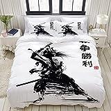 VORMOR Housse de Couette 200x200cm Signification du samourai Japonais en Illustration vectorielle Parure de Lit 2 Personnes,Imprimé en Microfibre avec 2 Taie d'oreiller 50x75cm