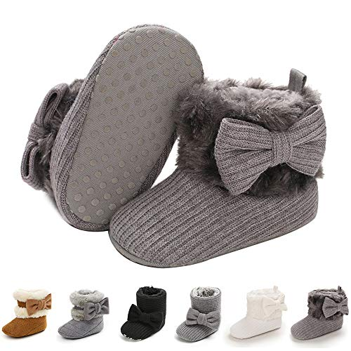 E-FAK Baby Girl Winter Snow Bowknot Boots Anti-Slip Soft Sole Warm Newborn Infant Toddler Prewalker Boots(D/Light Grey, 12-18Months)