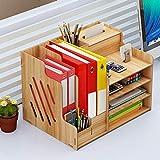 Queta Schreibtischorganizer Holz, Lesfit Tisch Organizer Büro Veranstalter Multifunktionaler Schreibtisch Ordentlich Stationärer Aufbewahrungsschrank mit Häkeln für Bürobedarf
