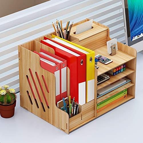 Queta Organizador de escritorio de madera, organizador multifunción para oficina, organizador de escritorio para documentos A4, libros, papelería, cuadernos, archivos, etc.