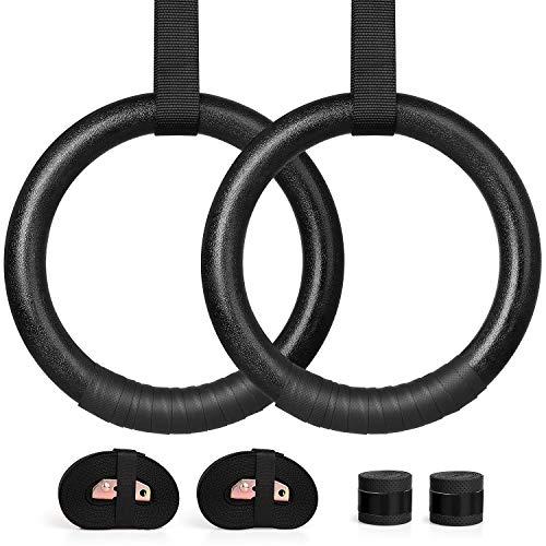 WEWILL Anelli da Ginnastica Professionali Anelli Multifunzione Pull Up Gym Ring con Protezione delle Mani per Esercizi for Home/Outdoor (ABS)