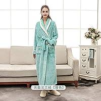 LIMEI-ZEN メンズシルクサテンバスローブローブ プラスサイズ3XL男性ローブ冬のフランネルソフト着物ドレス恋人の超大型ロングバスローブナイトウェア厚く暖かい女性パジャマ (Color : Women green, Size : XL)