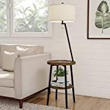 Lavish Home A1000B3 Floor Lamp End Mid Century Modern Side Table with Drum Shaped Shade, LED Light Bulb Included, USB Charging Port and Storage Shelf, Various