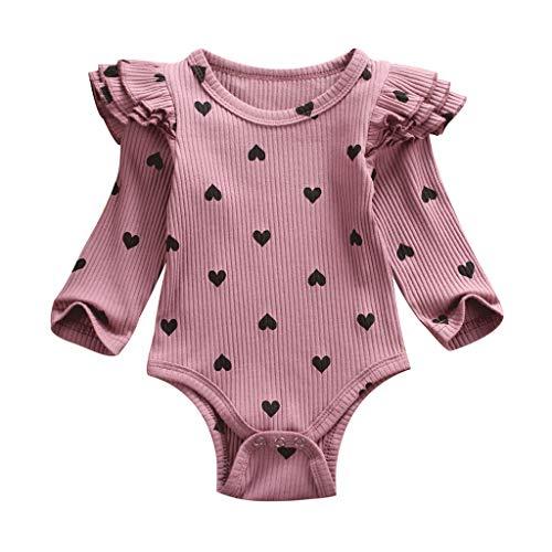 Robemon Babykleidung, Baby, Mädchen, Jungen, Langarm, Strampler mit Rüschen, bedruckt, Herzmotiv, Babykleidung Gr. 18-24 Monate, violett