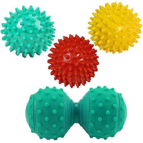 Osuter 4PCS Pallina Massaggio Muscolare Rullo per Massaggio Dura Massage Ball per Fascite Plantare Schiena Gambe Mani Piedi Spalle