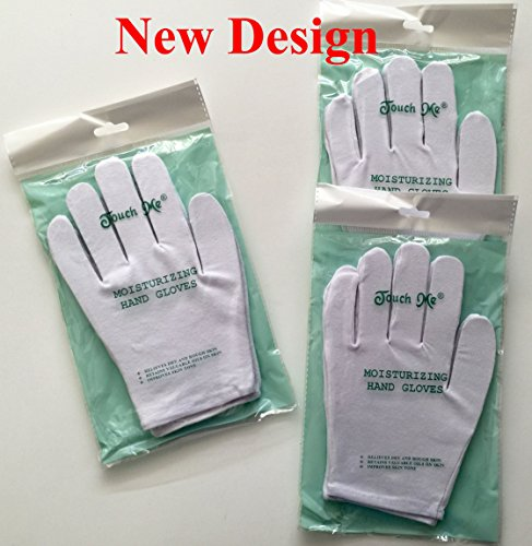 Touch Me Moisturizing Hand Gloves, 90% Cotton / 10% Spandex Set of 3 Pairs